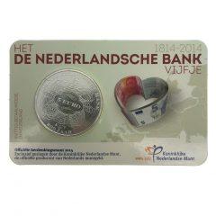Nederland; 5 euro; 2014; Het Nederlandsche Bank Vijfje in Coincard (UNC)